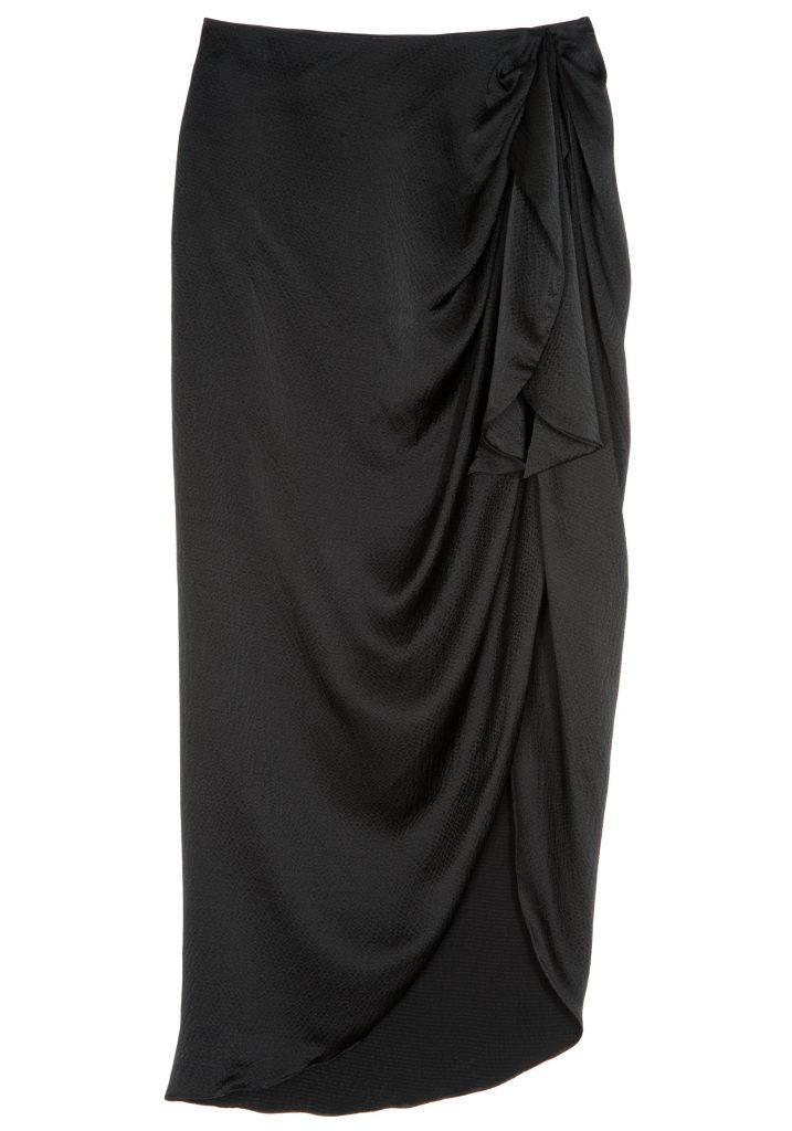waist tie silk midi skirt
